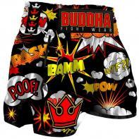 Muay Thai Shorts Buddha Retro Baam black Kids